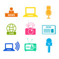 Journalism icons set of modern flat symbols of including computer news reporter camera accreditation pencil and Stock Photography