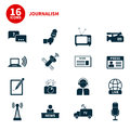 Journalism icons set of modern flat symbols of including computer news reporter camera accreditation pencil and Stock Photos