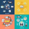 Journalism icons set with online and world news symbols flat vector illustration Royalty Free Stock Photography