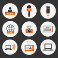 Journalism icons set of vector modern flat symbols of including computer news reporter camera accreditation pencil and Royalty Free Stock Images