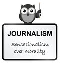 Journalism monochrome sensationalism sign isolated on white background Stock Photos