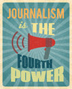Journalism poster press news reporter profession with red megaphone and text vector illustration Royalty Free Stock Image