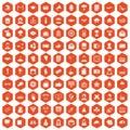 100 journalist icons hexagon orange