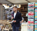 Journalist at work a young of tv channel kiev bogdan buryanenko the festival purchases production ukrainian goods which was held Stock Images