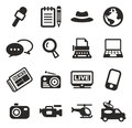Journaliste or reporter icons Images libres de droits