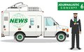 Journalistic concept. Detailed illustration of arabian muslim man reporter and TV or news car in flat style on white