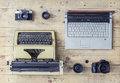 Journalistic equipment on a wooden table Royalty Free Stock Photo