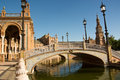 The blue color of the sky of Seville, in Plaza De Espana
