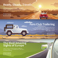 Journey by car. Vector web banners.