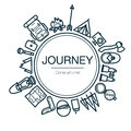 Journey Card. Background With Travel Icons.