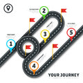 Journey road map business vector cartography infographic template with pins and flags
