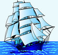 Journey on  sailing nave Royalty Free Stock Photo