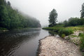 Journey to the urals summer landscape white river in southern on a cloudy day Stock Image
