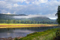 Journey to the urals summer landscape white river in southern on a cloudy day Stock Photo