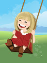 Jovial girl on a swing with happy face illustration Royalty Free Stock Image
