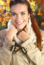 Joy in autumn day portrait of a beautiful woman scenery Royalty Free Stock Photos