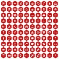 100 joy icons hexagon red