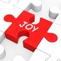 Joy puzzle shows cheerful fun feliz e aprecia Fotos de Stock