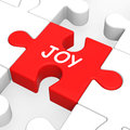 Joy puzzle shows cheerful fun happy and enjoy showing Stock Photos