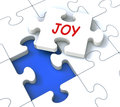 Joy Puzzle Shows Cheerful Joyful Fun Happy And Enjoy Stock Image