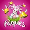 Joyeuses Pâques, Oeufs, Cloches Et Lapin