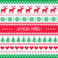 Joyeux noel card scandynavian christmas pattern winter red and green background for celebrating xmas in france nordic kntting Royalty Free Stock Images