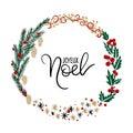 Joyeux Noel Hand Lettering Greeting Card. Christmas Wreath