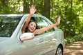 Joyful Asian Female Driver Royalty Free Stock Images