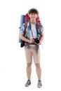 Joyful asian hiker full length portrait of with a digital camera Stock Image