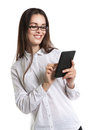 Joyful Beautiful young long-haired woman in glasses with an e-book. Human emotions, laughter, smile, joy. Royalty Free Stock Photo
