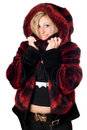 Joyful blond woman in fur jacket Stock Photo