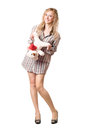 Joyful blonde holding teddy bear isolated white Stock Photos