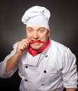 Joyful chef a with chilly pepper in his mouth Royalty Free Stock Photos