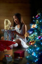 Joyful Christmas Present Stock Photography