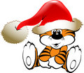 Joyful Christmas tiger Royalty Free Stock Photo