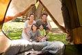 Joyful family camping in the park Royalty Free Stock Photo