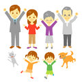Joyful family three generation dog and cat parents and children grand parents jumping for joy Stock Photos