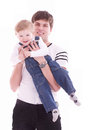 Joyful father and his baby son Royalty Free Stock Photography