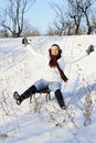 Joyful female relaxing in winter Royalty Free Stock Photo