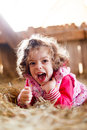 Joyful girl in hay laughing little having fun beautifully Stock Images