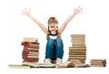 Joyful girl with piles of books isolation on a white background Royalty Free Stock Photos