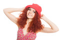 Joyful girl in a red hat isolated on white beautiful Stock Photography