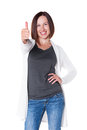 Joyful and happy girl showing thumbs up Stock Photos