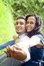 Joyful happy young couple having fun Royalty Free Stock Photo