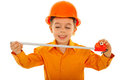 Joyful kid with measure tool Royalty Free Stock Photography