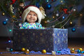 Joyful little baby in the present box Royalty Free Stock Photo