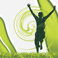 Joyful male silhouette på den gröna bakgrunden Royaltyfri Foto