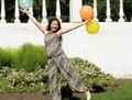 Joyful pregnant girl with colorful balloons Royalty Free Stock Photos