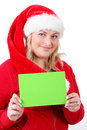 Joyful pretty santa woman with empty sign Royalty Free Stock Image