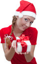 Joyful Santa helper with present box Royalty Free Stock Photo